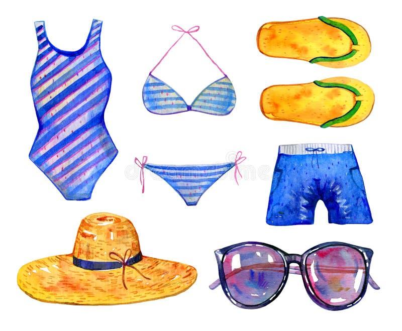 Swimsuits, trzepnięcie klapy, kapelusz i szkła, Akwarela r?ka rysuj?cy set ilustracja wektor