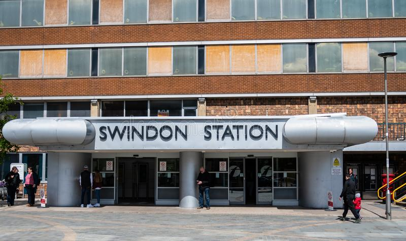 Swindon Station Entrance. Swindon, United Kingdom - May 04 2019:   The Entrance to Swindon Station on Station Road stock image