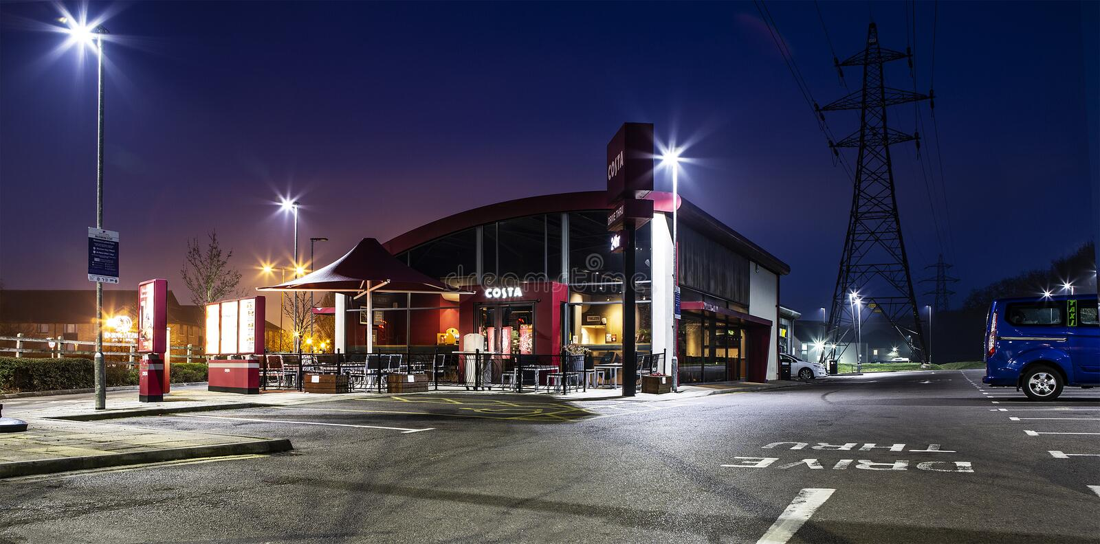 Costa Coffee 24 Hour Drive Thru in West Swindon royalty free stock photo