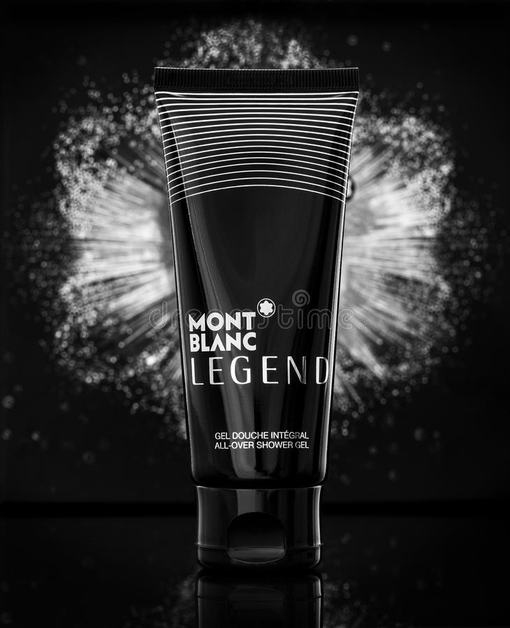 Mont Blanc Legend all over shower gel on a dark background stock image