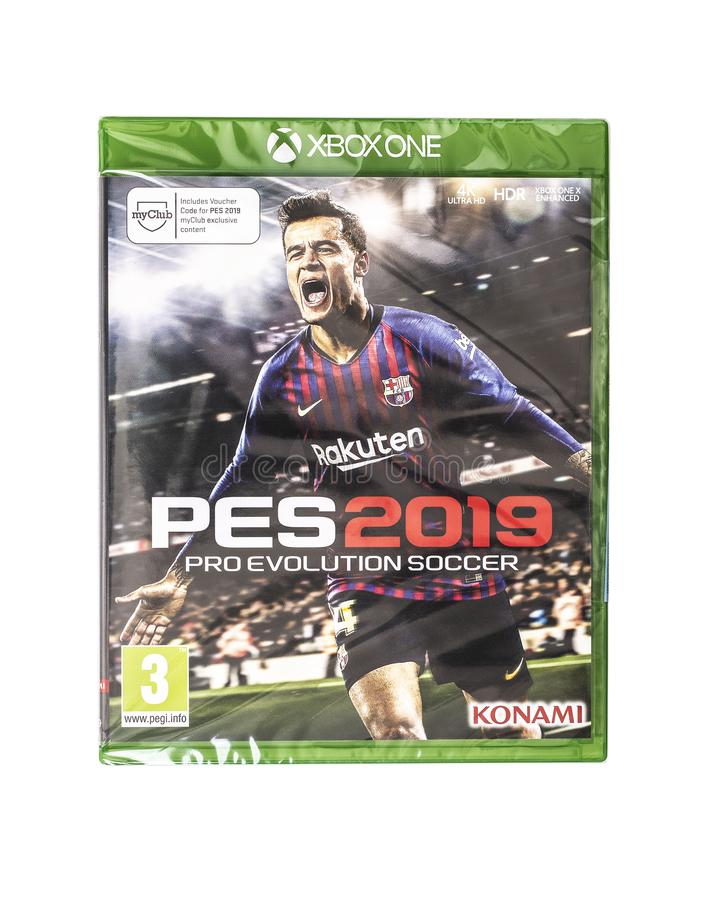 PES 2019 Pro Evolution Soccer game for the XBOX ONE on a white background. SWINDON, UK - OCTOBER 28, 2018:PES 2019 Pro Evolution Soccer game for the XBOX ONE on royalty free stock image