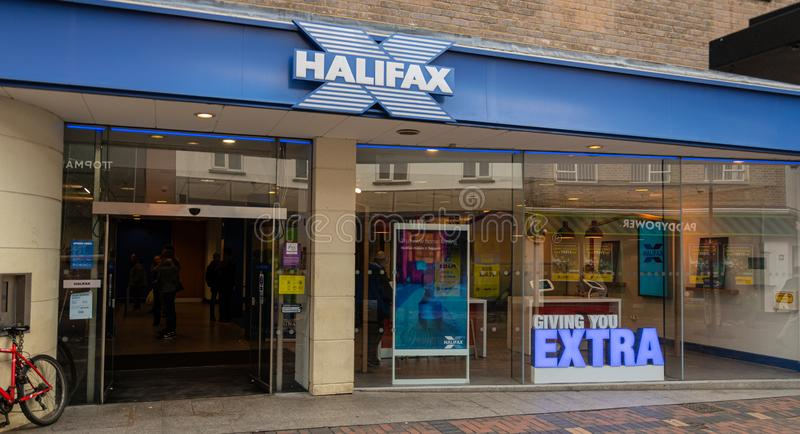 Halifax Bank Swindon. Swindon, United Kingdom - May 04 2019:   The frontage of Halifax Bank branch on Regent St stock photography