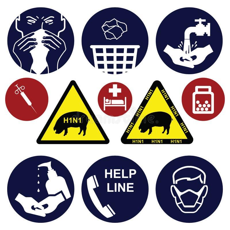 swine för influensa h1n1 stock illustrationer