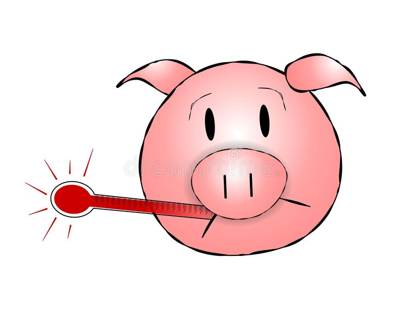 Swine Flu h1n1 Pig Head. A clip art illustration featuring a pig's head with thermometer stock illustration
