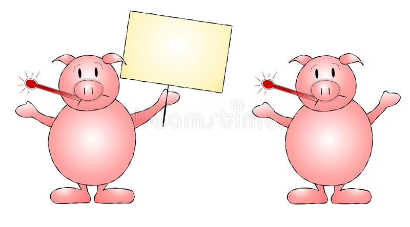Swine Flu Pigs Clip Art. A clip art illustration featuring your choice of pig with thermometer - one holding a sign and one with arms stretched out vector illustration