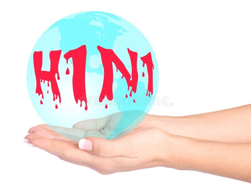 Swine flu virus in hands stock image