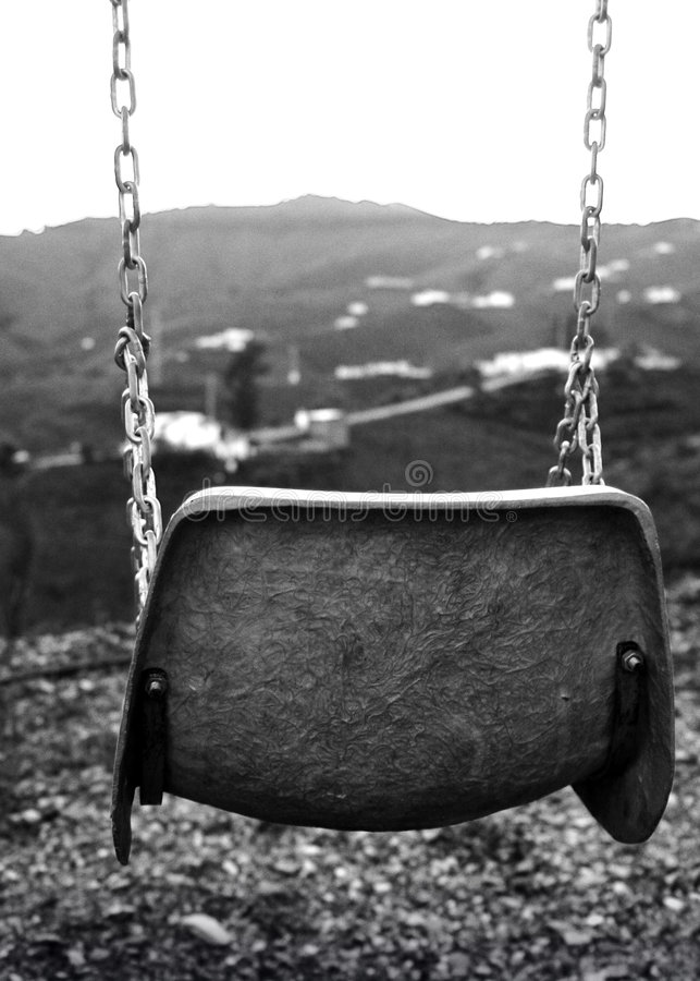 Swing. B/W photo with a melancholic wiew stock images