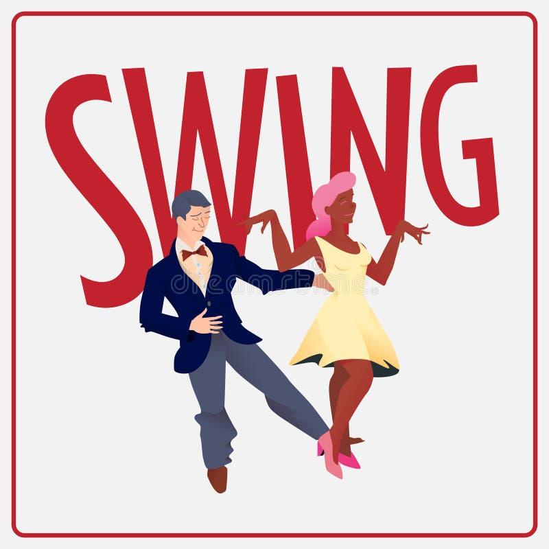 swing Affisch för dansfestival Reklamblad eller beståndsdel av advertizingen för sociala danser Mall för vektor för affisch för d stock illustrationer