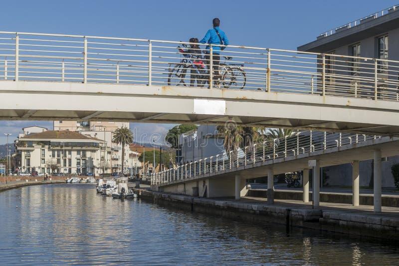 Swing bridge in the center of Viareggio, Lucca, Tuscany, Italy royalty free stock photography
