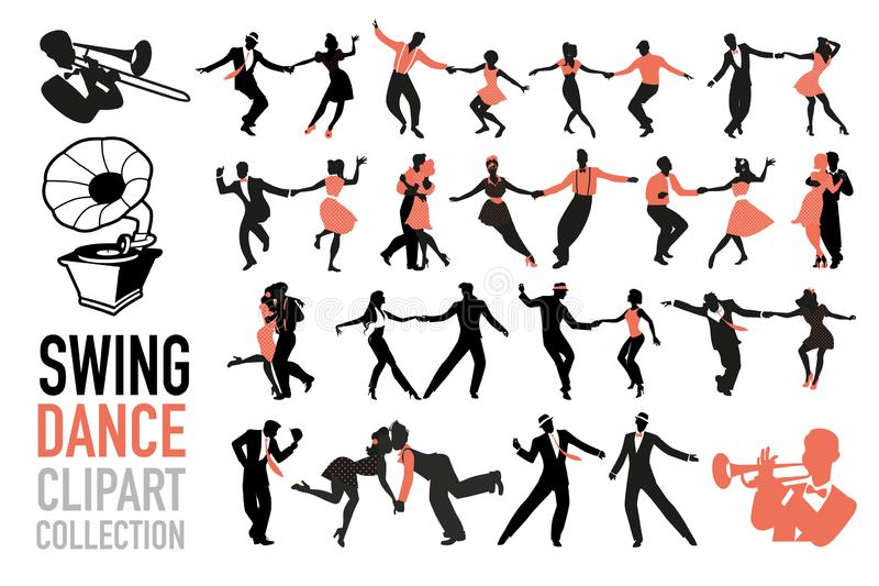 Swing dance clipart collection. Set of swing dancers isolated on white background stock illustration