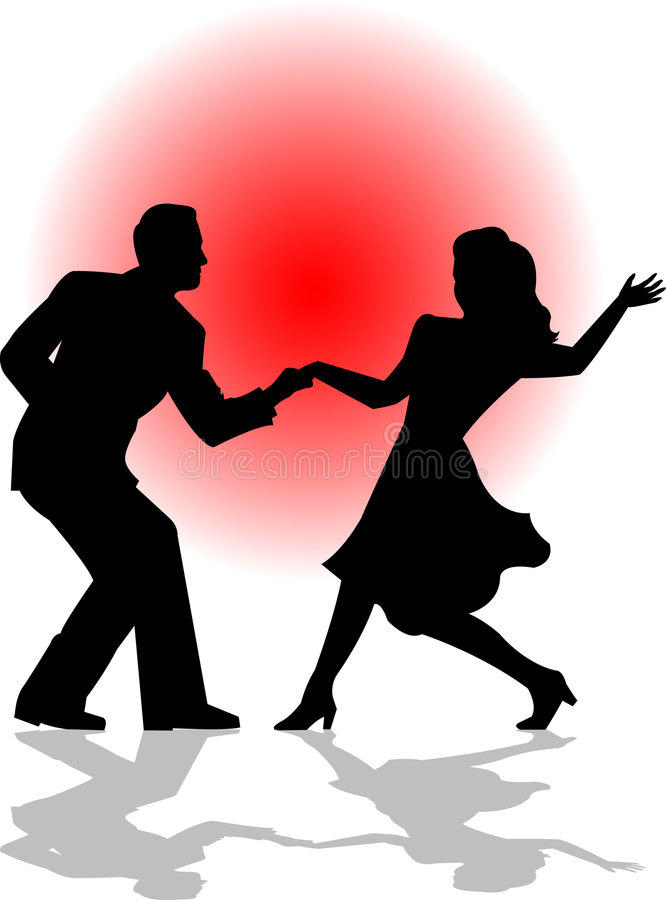 Swing Dance Couple/eps. Silhouette illustration of a couple swing dancing...edit colors in the eps version