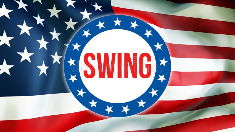 Swing election on a USA background, 3D rendering. United States of America flag waving in the wind. Voting, Freedom Democracy,. Swing concept. US Presidential vector illustration