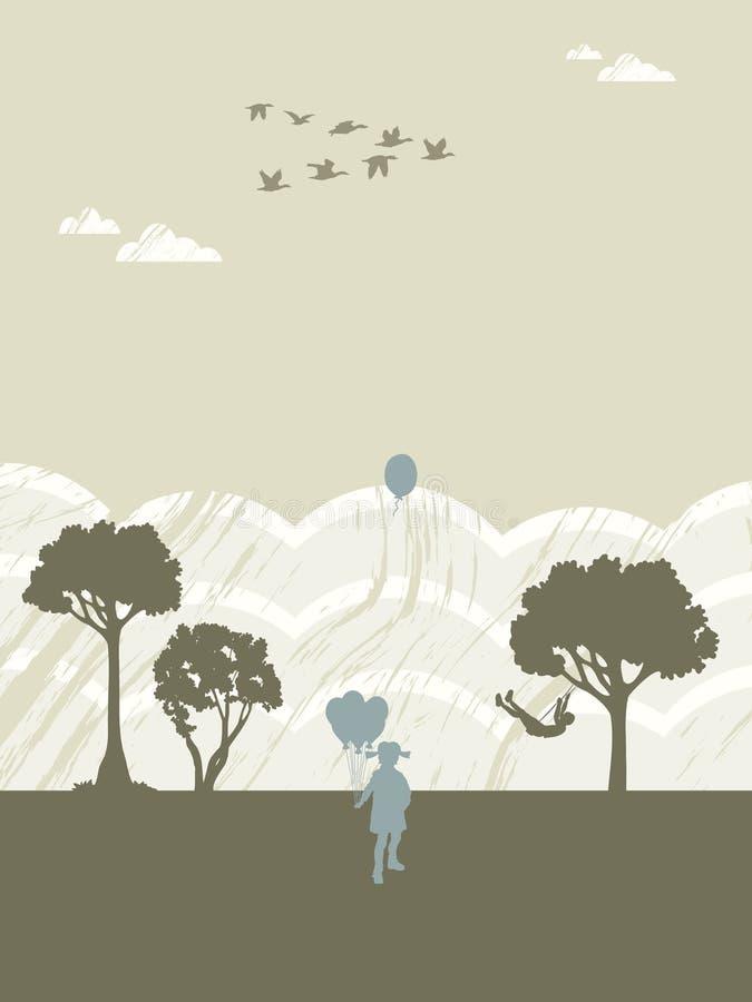 swing för ballongpojkeflicka stock illustrationer