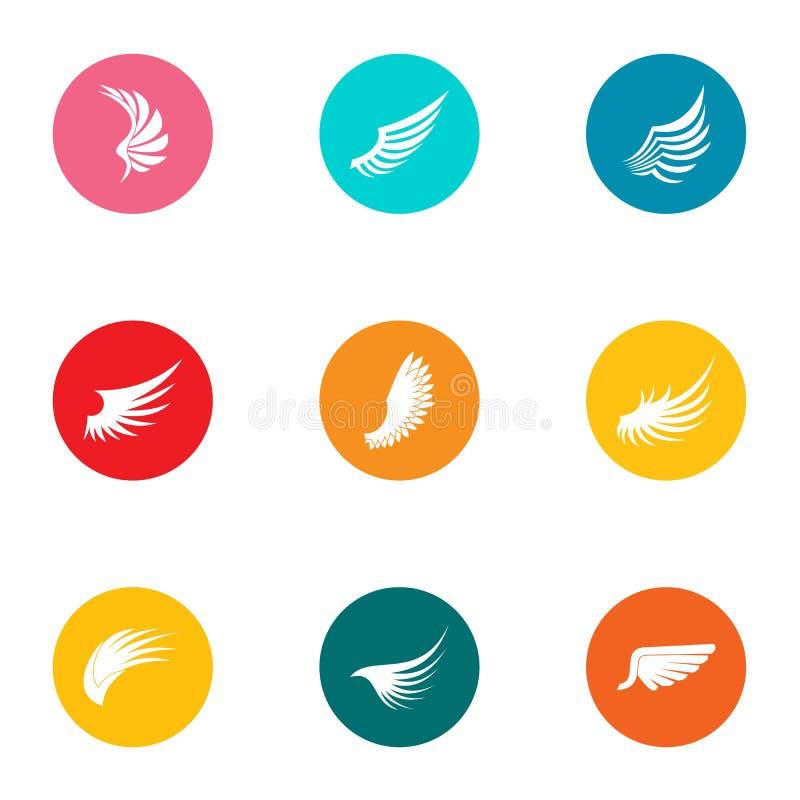 Swing icons set, flat style royalty free illustration