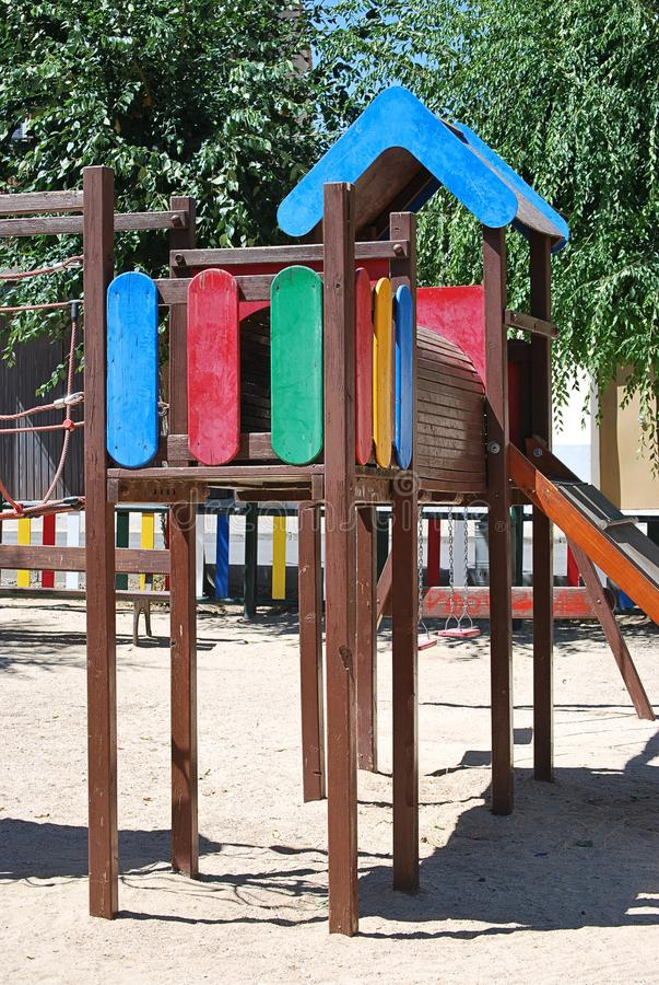 Swing playground for children`s entertainment stock photos
