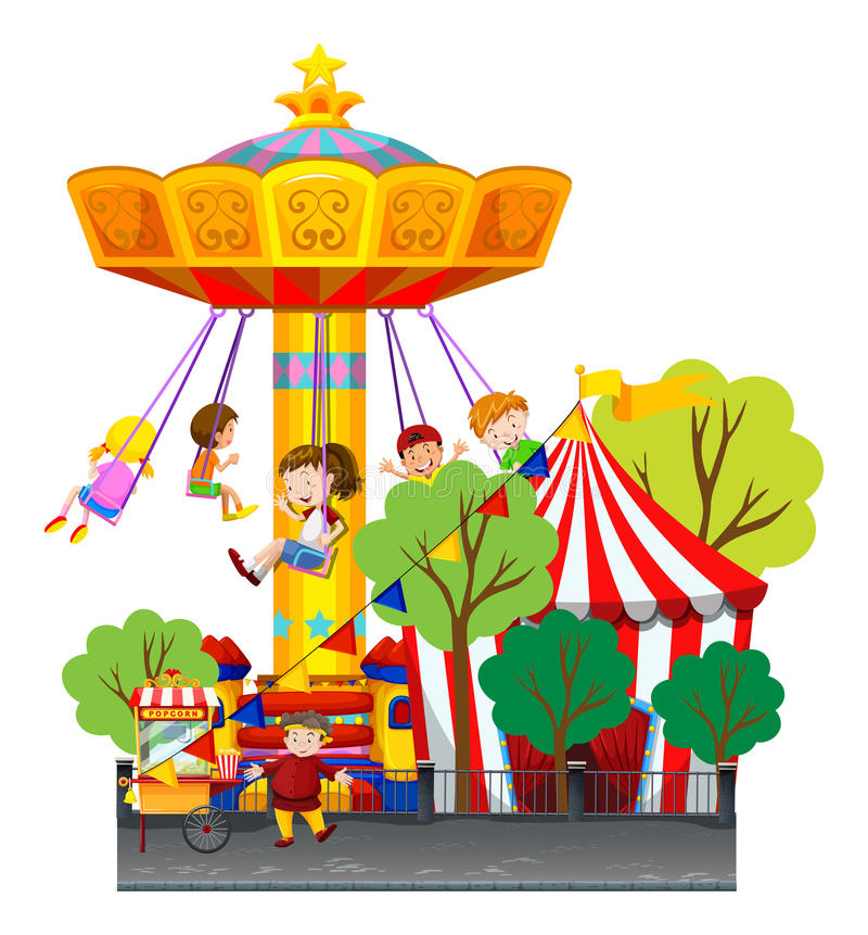 Swing ride at the theme park stock illustration