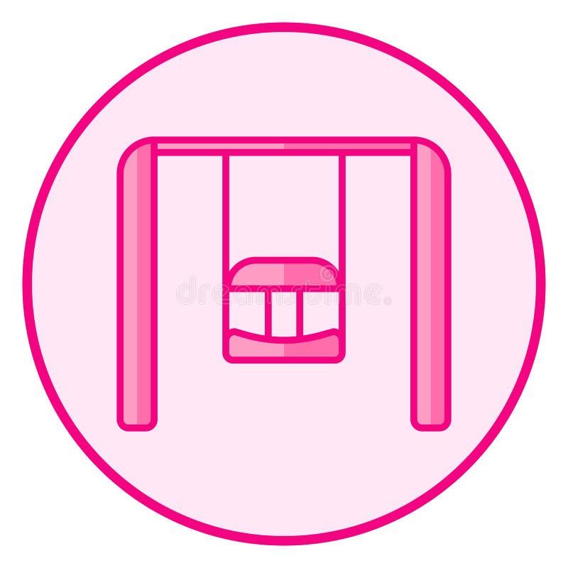 swing Rosa f?rger behandla som ett barn symbolen p? en vit bakgrund royaltyfri illustrationer