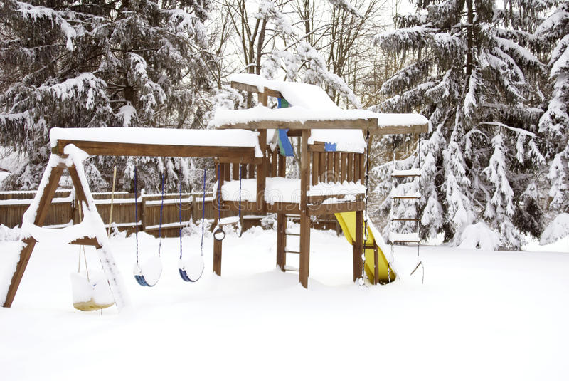 Swing Set After A Blizzard Royalty Free Stock Photo
