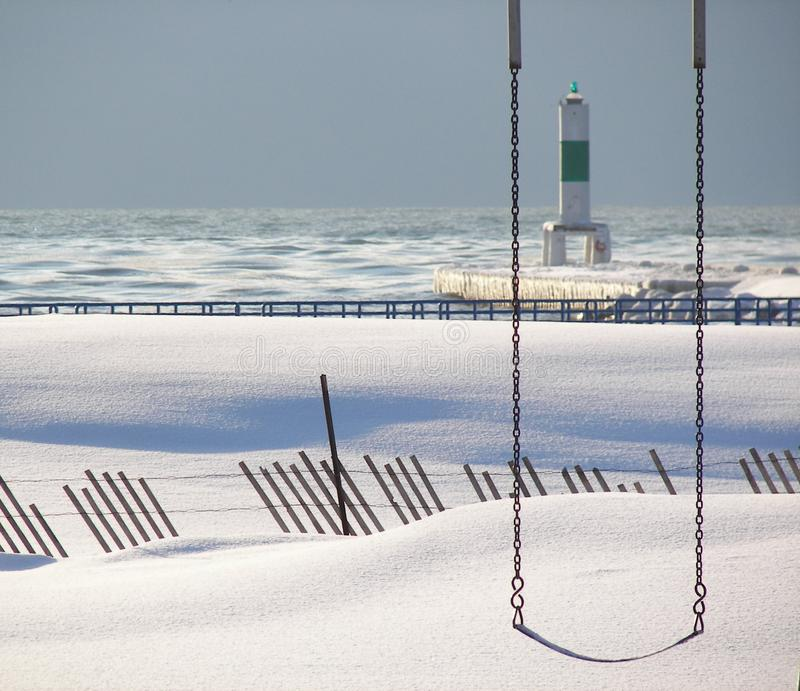 Download Swing In Snow stock image. Image of beach, calm, rail - 1925669
