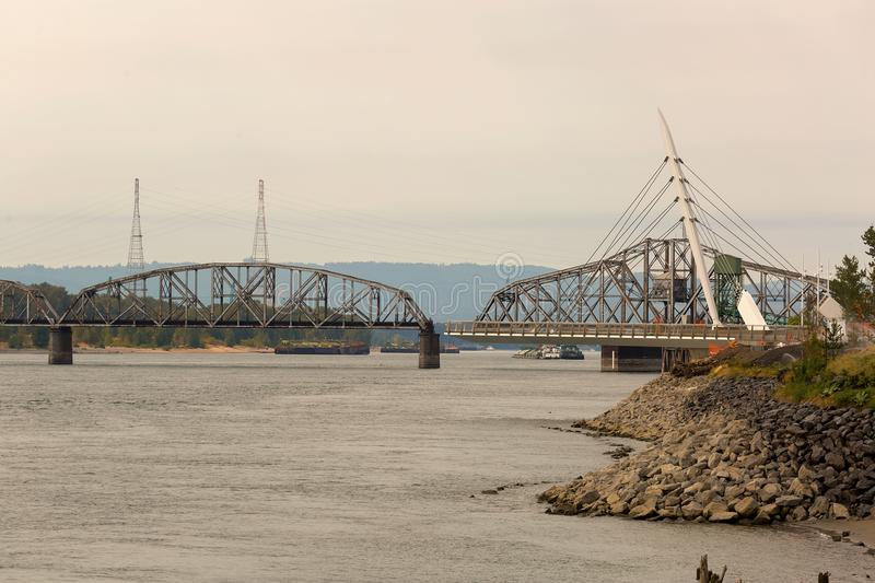 Swing Steel Bridge at Port of Vancouver Washington. Swing Steel Bridge for trains at Port of Vancouver Washington States USA stock photography