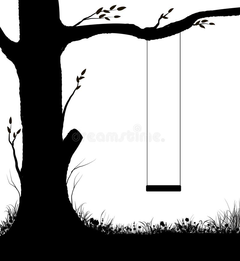 Swing on tree, childhood memories in summer day, piece of childhood, , black and white,. Shadows royalty free illustration