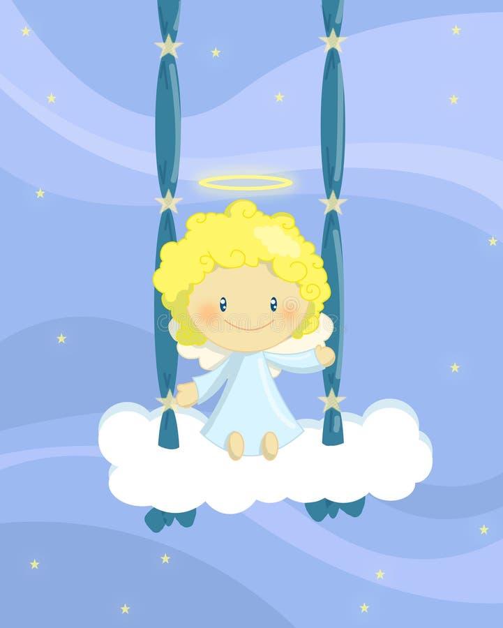 Download Swinging angel boy stock illustration. Image of children - 15435435