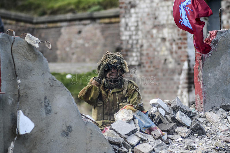 Swinoujscie Polen, September 15, 2012: Historisk reconstructi arkivfoton