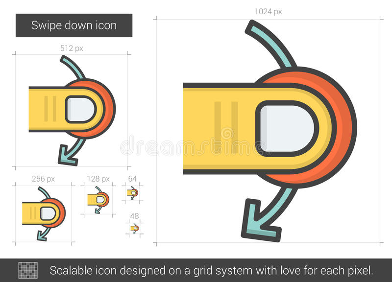 Swipe down line icon. Swipe down vector line icon isolated on white background. Swipe down line icon for infographic, website or app. Scalable icon designed on vector illustration
