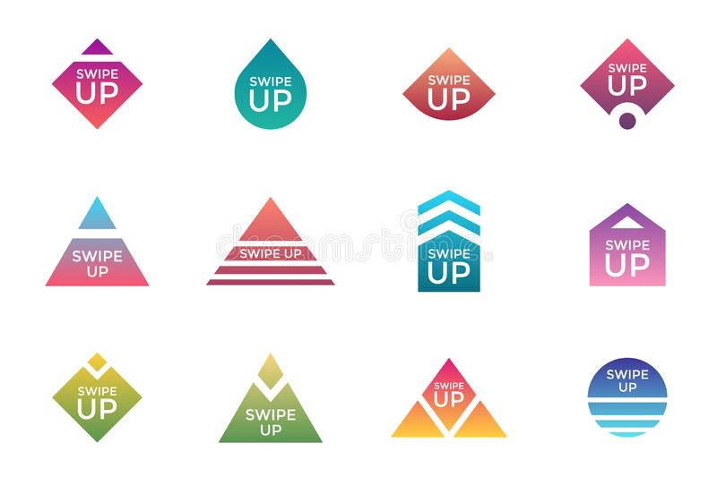 Swipe up button icon set. Application and social network scroll arrow pictogram for stories design blogger app. Vector stock illustration