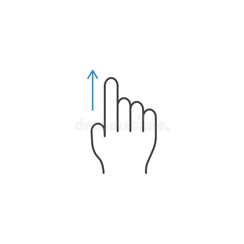 Swipe up finger line icon, touch and hand gestures royalty free illustration