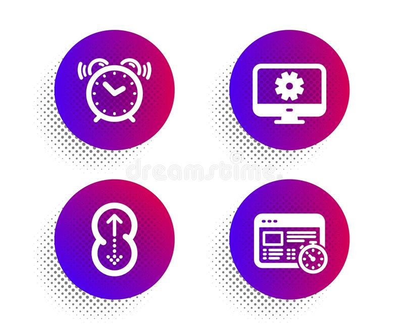 Swipe up, Monitor settings and Alarm clock icons set. Web timer sign. Scrolling page, Service cogwheel, Time. Vector. Swipe up, Monitor settings and Alarm clock vector illustration