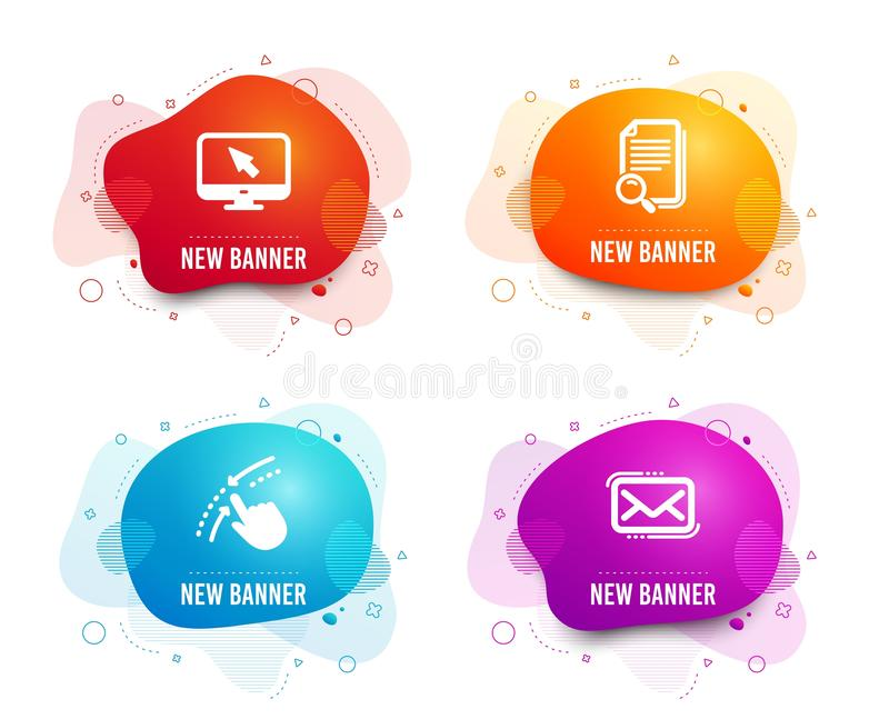 Swipe up, Search file and Internet icons. Messenger mail sign. Touch down, Find document, Monitor with cursor. Vector. Liquid badges. Set of Swipe up, Search stock illustration