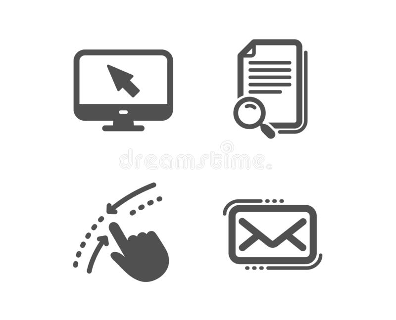 Swipe up, Search file and Internet icons. Messenger mail sign. Touch down, Find document, Monitor with cursor. Vector. Set of Swipe up, Search file and Internet royalty free illustration