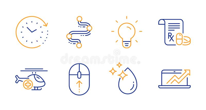 Swipe up, Time change and Medical helicopter icons set. Light bulb, Timeline and Medical prescription signs. Vector. Swipe up, Time change and Medical helicopter stock illustration