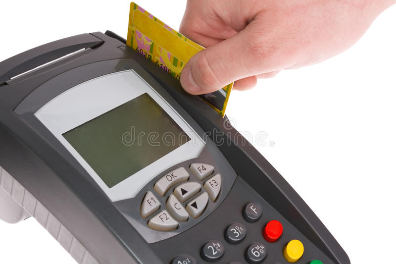 Swiping credit card with terminal. Paying with credit card. Isolated on white background stock images