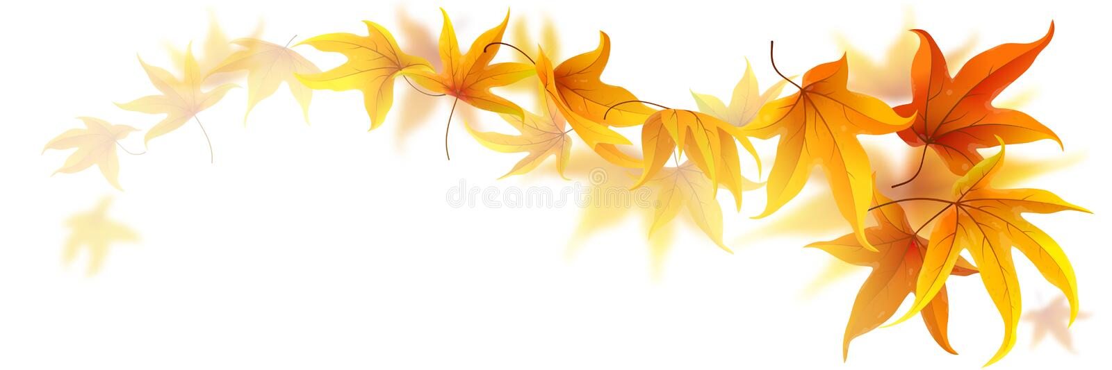 Swirl of autumn leaves stock illustration