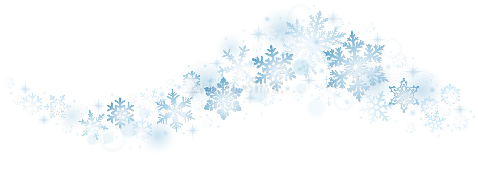 Swirl of blue snowflakes royalty free illustration