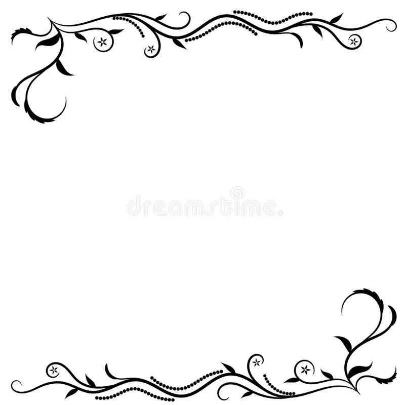 Swirl Border Frame Vector. Swirl border frame illustration vector for vintage design.  Curve lines with floral design vector illustration