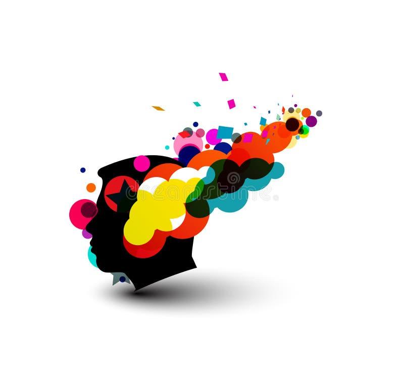 Swirl brain design stock illustration