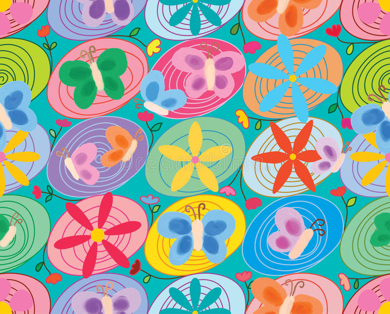 Swirl circle connect flower oil butterfly seamless pattern stock illustration
