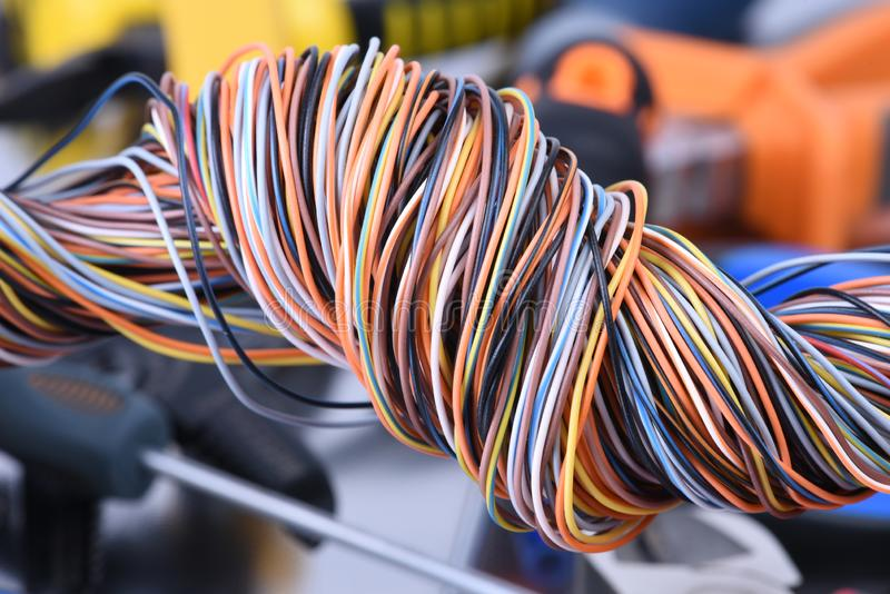 Swirl colored wire i electrical and telecommunication network royalty free stock image