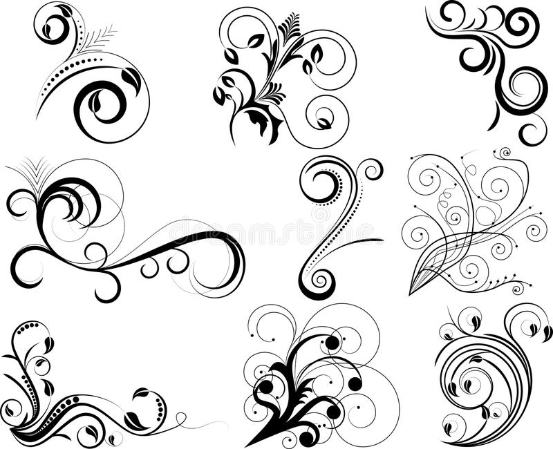 Swirl elements stock illustration