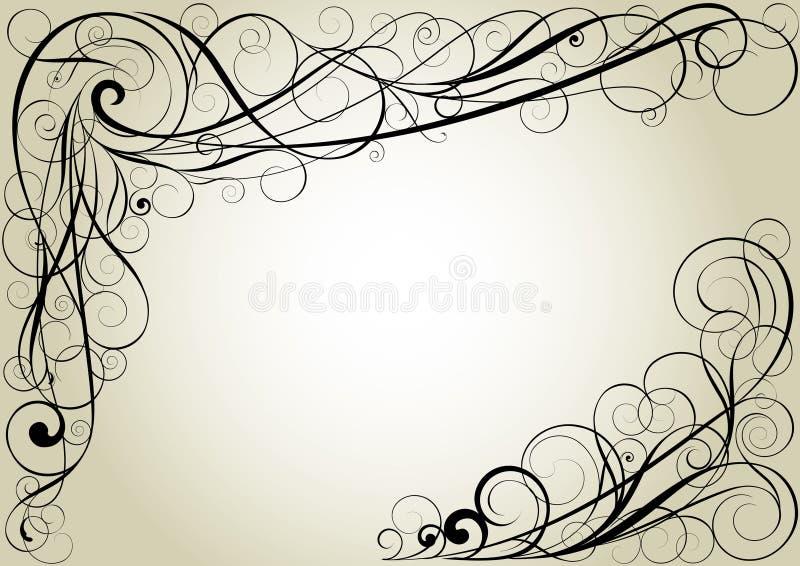 Swirl floral corner design royalty free illustration