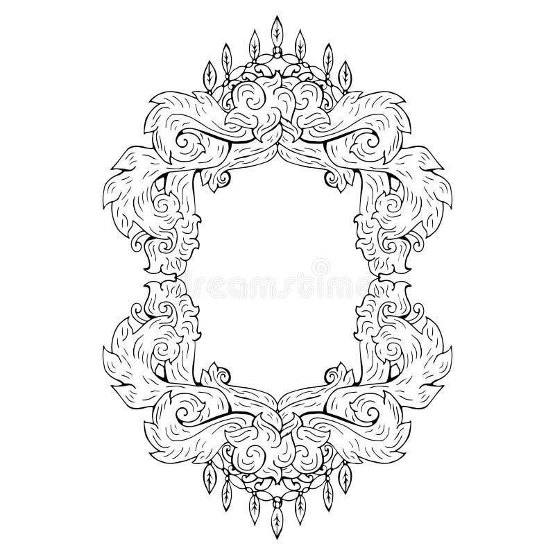 Swirl floral frame. Old black doodle border. Vector illustration royalty free illustration