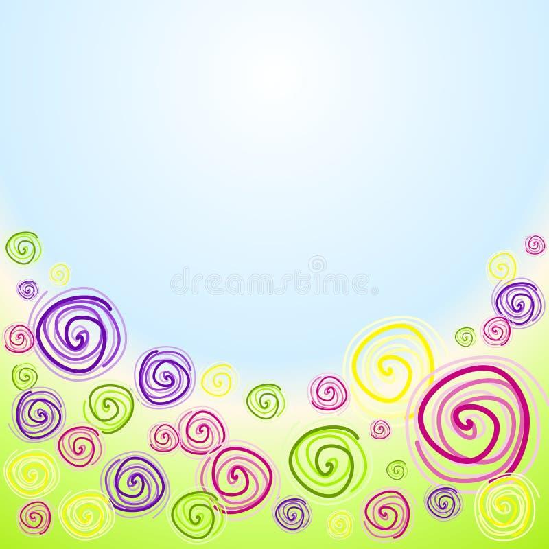 Swirl flowers invitation card. Colorful flower swirls in a garden invitation card
