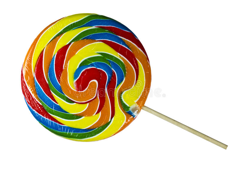 Swirl Lollipop. Multi-colored Lollipop isolated on a white background with a wooden stick stock image