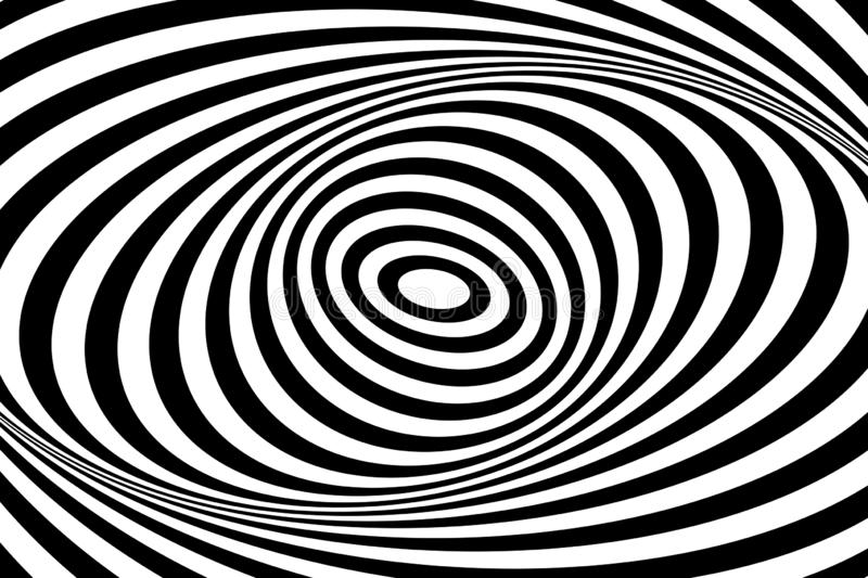 Swirl movement illusion. Op art design. Oval lines pattern and texture. Vector art vector illustration