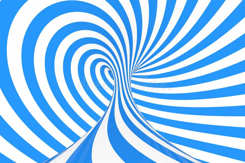 Swirl optical 3D illusion raster illustration. Contrast blue and white spiral stripes. Geometric winter torus image with lines. Swirl optical 3D illusion raster stock photography