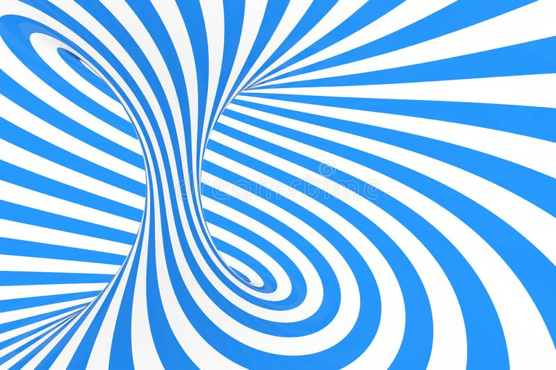 Swirl optical 3D illusion raster illustration. Contrast blue and white spiral stripes. Geometric winter torus image with lines. Swirl optical 3D illusion raster royalty free stock photography