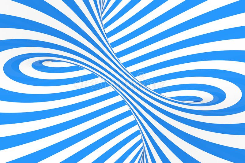Swirl optical 3D illusion raster illustration. Contrast blue and white spiral stripes. Geometric winter torus image with lines. stock photography